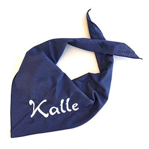 Schnoschi Hundehalstuch Halstuch für Hunde mit Wunschnamen Bestickt in der Farbe Dunkelblau