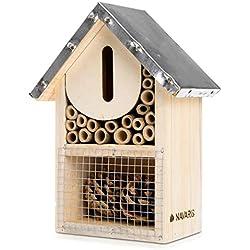 Navaris Hôtel à Insectes Bois - Maison pour Insectes 20 x 15 x 8 cm - Refuge Abeille Coccinelle Papillon Insecte Volant - Toit en Métal et Crochet