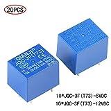 20 Piezas 5V /12V DC 7A/10A 5 Pin Mini Rele de Potencia SRD 5V/12V,Power Relé JQC-3F,para Control Aplicaciones Electrodomésticos