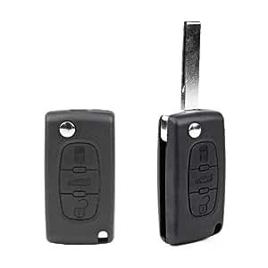 Coque 3 boutons lame pliable pour cle telecommande CITROEN PEUGEOT Avec slot de pile Rainure sur lame est a la face lateral