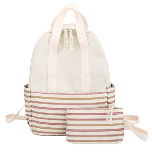 HDUFGJ Backpack Damen Studenten Lässiger Daypacks Schüler Bag für Wandern Frauen-modischer frischer Streifen-Rucksack-Damen-großer Kapazitäts-Campus-Art-Rucksack