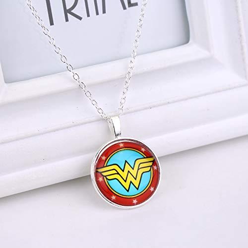 Wonder Woman Foto Cabochon Glas Tibet Silber Farbe Kette Anhänger Halskette Halsband Halskette Für Frauen (Wonder Woman Kostüm Bilder)