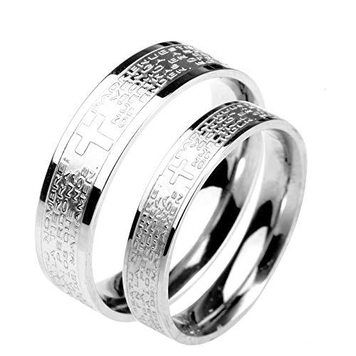 ROMQUEEN Schmuck Ring Partnerringe Mit Herz Ehering Holz,Silber,Frau:57(18.1)&Mann:67.5(21.5) (Ring Granat Silber Ewigkeit)