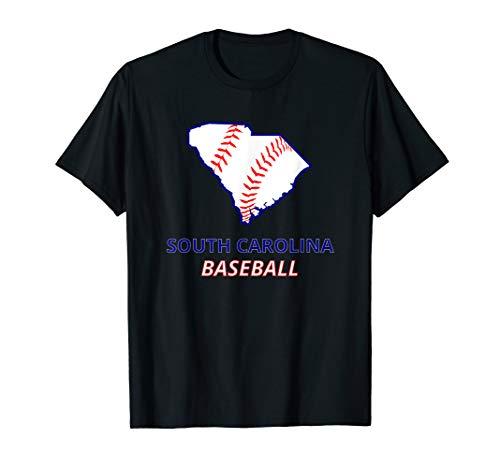 State Of South Carolina SC BASEBALL Fan Red Seam Art Gift T-Shirt - South Carolina Rot Shirts