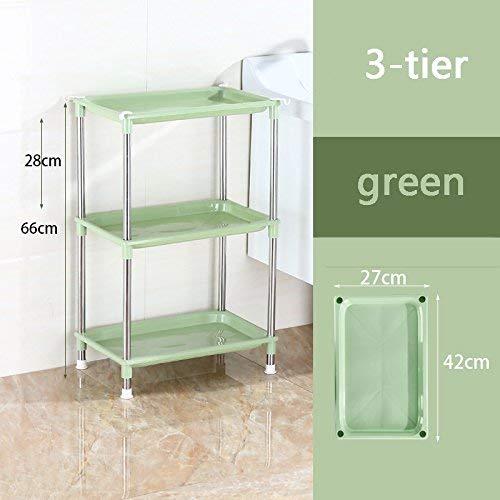 WSR Stand-Waschbecken im Badezimmer, Schließfach aus Kunststoff,3-stufig,Grün (Badezimmer Standwaschbecken)