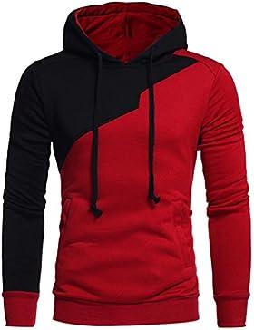 Sudaderas Hombre Baratas Amlaiworld Sudadera con capucha para hombre patchwork Tops chaqueta abrigo ropa
