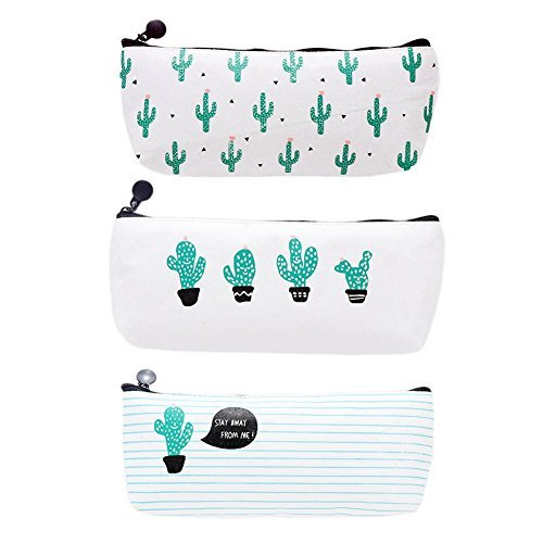 (BeautyLife & # x24C7; Lovely Leinwand Cactus Pen Tasche Reißverschluss Bleistift Fall stationären Aufbewahrung Make Up Münzfach Muster Tasche Tasche Box für Schule Jungen Mädchen–3Stück)