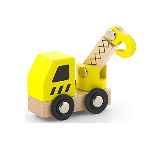 Viga 6 Wooden Construction Vehicles Set - Childrens Push Along Play Trucks