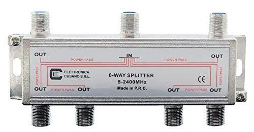 6633 Splitter Satellitare 6 Vie Partitore Antenna Tv da Interno con Connettore F Splitter Satellitare Ripartitore Antenna Tv Partitore Tv Sat