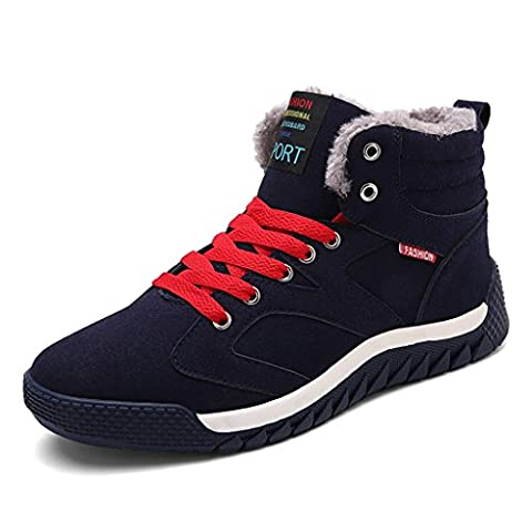 SITAILE Men Lace Up Warm Ankle Winter Snow Boots Fur Linning Outdoor ,Blue,UK9
