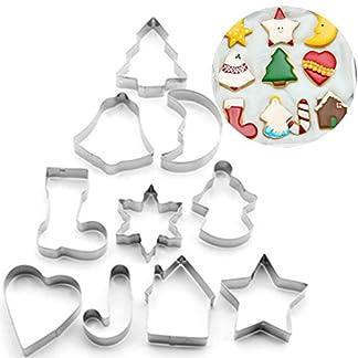 Xinlie Cortadores de Galletas Navideñas Cortadores de Galletas de Acero Inoxidable para Galletas de Navidad Navideñas Juego de Cortadores de Galletas para Galletas de Fondant para Hornear