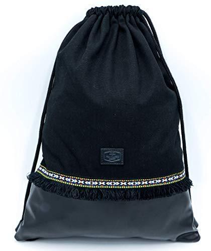 Traveller´s Garden Turnbeutel für Damen und Herren in schwarz, Sportbeutel wasserabweisend, Rucksack mit Innentasche aus Canvas-Baumwolle und vegan Leder, Ethno Muster, Boho Festival