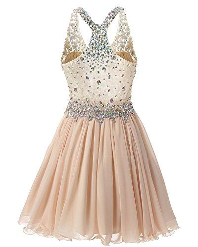 Fanciest Damen Beaded 2016 Abendkleider Ballkleid Kurz Bridesmaid Heimkehr Dress Coral