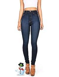 Hooleeger High Waist Jeans Damen Skinny Stretch Regular Fit Basic Jeanshose 0d425e10e2