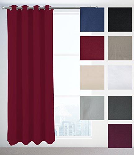 7dreams Verdunklungsvorhang Venedig | Halbverdunklungsgardinen mit Ösen | 2er Set | 140 x 245 cm | Rot - Rote Ösen