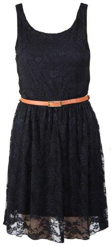 Womens New Sleeveless Floral Lace Belt Ladies Black Mini Skater Scoop Neck Plain Dress Size 8 10