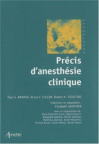 Précis d'anesthésie clinique