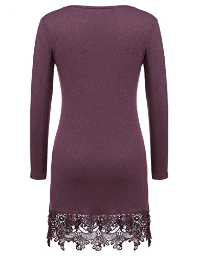 bluetime femmes Casual col rond à manches longues lace-trimmed A-Line robe courte rouge vin