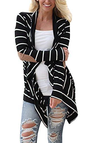 Women Elbow Patchwork Strickjacke Black and White Striped Long Cardigan Loose Sweater Jacket Mantel Outwear Tops ( Schwarz DE 38 ) Elbow Sleeve Hoodie