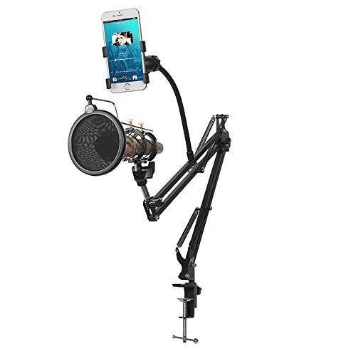 AOLVO Mikrofon-Ständer, 360 ° verstellbar, für Schreibtischmikrofon, Federung, Scherenarm, Ständer, Clip, Halterung mit Telefonhalterung und Popfilter für Radio- und Studio-Aufnahmen 360 Blackberry
