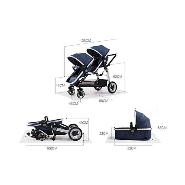 CHEERALL Double Baby Stroller Eggshell Twin High Landscape Pushchair Foldable Front And Rear Seat Adjustable Backrest Newborn Buggy,Brown CHEERALL TWIN STROLLER: Getting everywhere with two little ones has never been easier, thanks to the Double Strollers; you can glide around town even when you only have one hand free to steer; you can even roll through a standard size doorway. SEAT ORIENTATION ADJUSTABLE & ADJUSTABLE BACKREST :Arbitrarily convert the seat orientation to meet the needs of different age groups. The backrest can adjust to fit baby's sleep posture to keep comfortable sleeping. SAFETY WHEELS & DOUBLE BRAKE:The front wheel has dual shock absorption and 360° universal rotation for easy to control direction and safety. The rear wheel is made of PU material, which is wear-resistant and has a long service life..In the process of pushing, if you want to brake urgently, you can directly step on the crossbar under the seat with your foot, and the pedaling area is large. 6