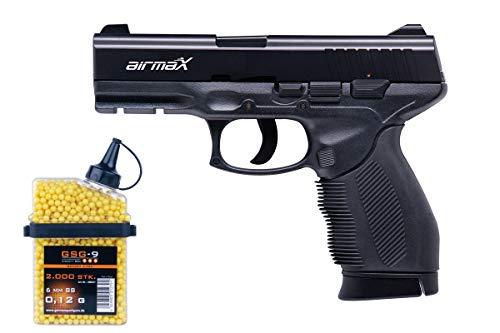 airmaX® Softairpistole PT24/7 Cal. 6mm <0.5 Joule Federdruck mit 2. Magazin und 2000 BBS gratis