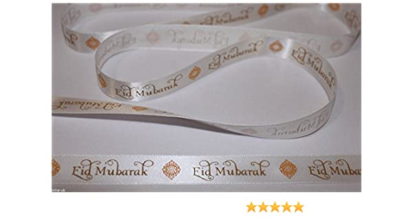 Black Eid Mubarak satin ribbon 10mm//16mm width *Various quantities* eid ribbon