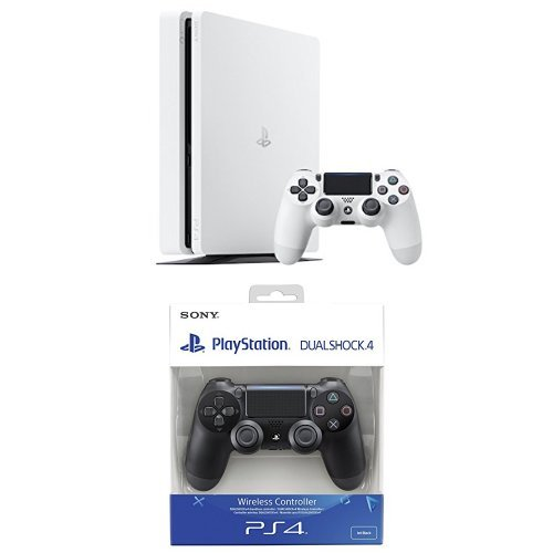 PlayStation 4 Slim (PS4) - Consola de 500 GB, Color Blanco + DualShock 4 Negro V2 adicional