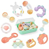 GizmoVine Rassel Baby Spielzeug Baby Rassel Set mit Aufbewahrungsbox ohne BPA Spielzeug für 0,3,6,9,12 Monate und Neugeborene