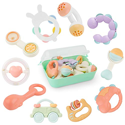 GizmoVine Baby Toys Baby Rattles for 0-12 Months Safe Material for 100℃ hot water with Storage Box
