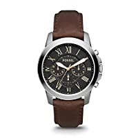 Fossil Grant Chronograph Black Dial Brown Leather Watch for  Men  - FS4813IE