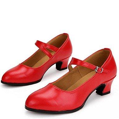XIAMUO Nicht anpassbar - Die Frauen tanzen Schuhe moderne Leder Ferse schwarz/rot/silber Rot