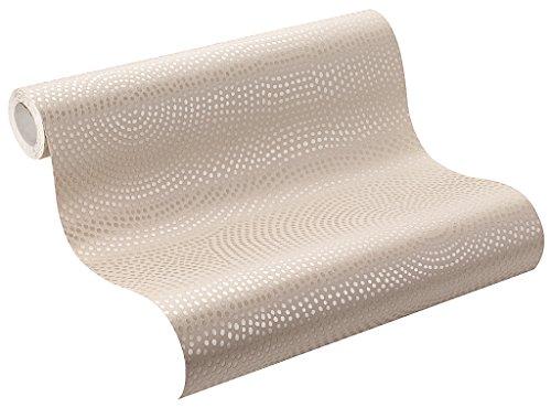 Beige Tapete (Rasch Tapeten Rasch Vlies-Tapete, Kreise in beige und gold-Metallic mit Glitzer, Home Vision VI, 431322, 0,53m x 10,05m (BxL))