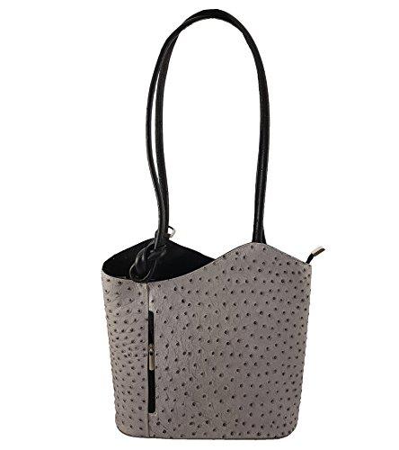 asche Rucksack Designer Luxus Henkeltasche aus Echtleder in versch. Designs (Strauß Grau-Schwarz) (Leder Designer Handtaschen)