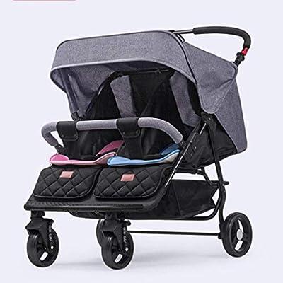 DXDZQ Cochecito Doble for bebés y bebés, múltiples configuraciones de Asientos, Asientos reclinables, Marco liviano, Gran Canasta de Almacenamiento