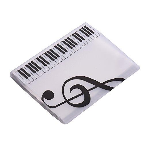 Muslady Cartelle Portaspartiti Formato A4 Foglio di Spartito Musicale Nota File di Documento Titolare Astuccio 40 Tasche Bianca