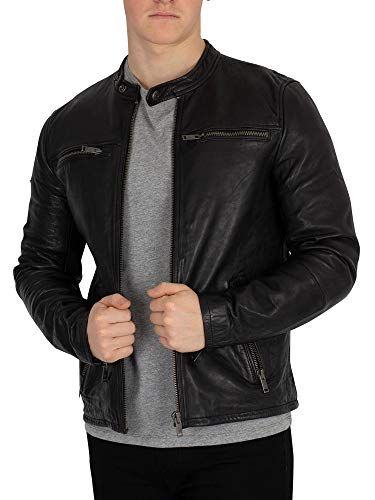 Superdry Herren Lederjacke REAL Hero Leather Biker Black, Größe:XL