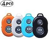4 pzs Control Remoto Bluetooth-Control Remoto de Cámara de Smartphone- Adecuado para Camara de Disparo del Obturador para Autofotos - Compatible con Apple iOS y Android(Negro Blanco Naranja Azul)