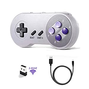 suily 2.4G Wireless USB Controller Wiederaufladbarer SNES Gamepad Joypad mit Ladekabel für Windows PC Mac Raspberry Pi System