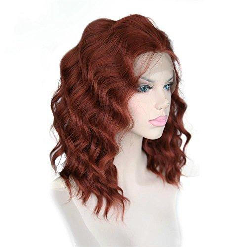 cbwigs kurz gewellt Kunsthaar Burgund Lace Front Perücke für Cosplay Frauen-Hälfte Hand auf Perücke Haarschnitt Styles 40,6cm # 350