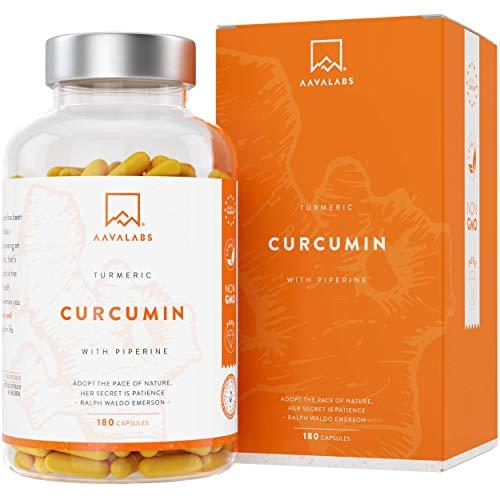 integratore di curcumina di curcuma [4230 mg] 180 capsule vegetali - senza stearato di magnesio - 95% di estratto di curcumina e piperina - potente antinfiammatorio e antiossidante