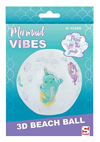 Sambro SAM-3396-3 - Wasserball mit 3D Effekt, ca. 45 cm, Meerjungfrau Motiv mit einem Narwal, für Kinder ab 2 Jahren, mit Sicherheitsventil, ideal für Pool, Strand und Schwimmbad