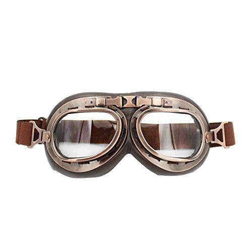 LEAGUE&CO Steampunk Helm Motorradbrille Schutzbrille Fliegerbrille für Harley Davidson Honda Yamaha usw. (Transparent) Motorrad Cruiser-brille