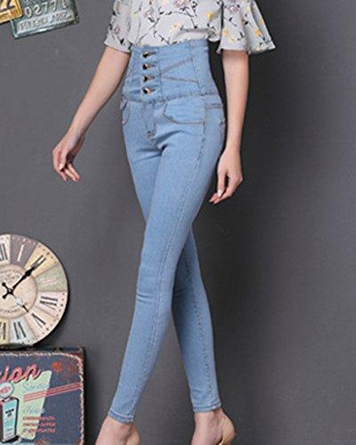 Donne Pantaloni a Vita Alta Stretch Slim Matita Jeans Azzurro Chiaro