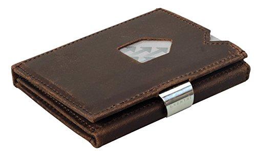 EXENTRI Wallet Geldbörse für bis zu 12 Kreditkarten Leder Börse (Nubuck Brown EX018 (Nubuk Braun)) -