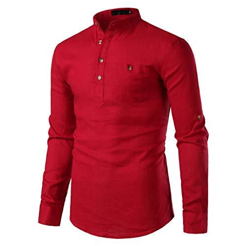 Herren Leinenhemd, pitashe T Shirts Herren Leinen Freizeithemd Langarm Männer Hemd Casual Regular Fit Shirt Tops Sweatshirts Unterhemd Shirts Pullover Männer Tanktop Shirt T-Shirt Bluse Mit Tasch