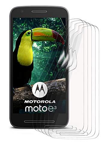 moex 5X Lenovo Moto E3 | Schutzfolie Klar Bildschirm Schutz [Crystal-Clear] Screen Protector Display Handy-Folie Dünn Bildschirmschutz-Folie für Motorola Moto E3 Bildschirmfolie