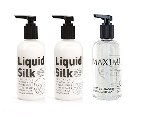 2 X Liquid Silk Water Based Lubricant 250ml and 1 X Maximus Water Based Anal Lube 250ml by Bodywise - Silk Lube