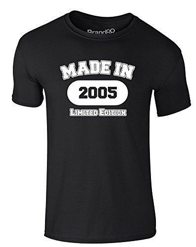 Made in 2005, Erwachsene Gedrucktes T-Shirt - Schwarz/Weiß L = 104-109 cm (2005 Weißes T-shirt)