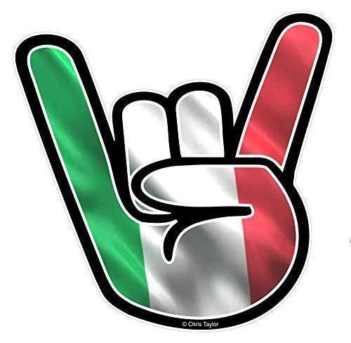 Italienische Stein (Stein auf Hand Design mit Italien Italienisch Il Tricolore Flagge Motiv Vinyl Auto-Aufkleber Abziehbild 92x92mm By Ctd)
